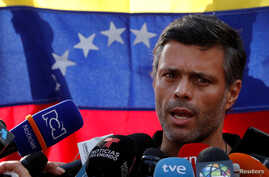 Venezuelan opposition leader Leopoldo Lopez talks to the media at the residence of the Spanish ambassador in Caracas, Venezuela, May 2, 2019.