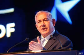 Israeli Prime Minister Benjamin Netanyahu speaks during an event marking one year since the US embassy moved to Jerusalem on May 14, 2019.