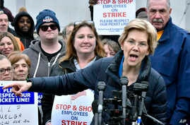 Democratic Presidential hopeful, Sen. Elizabeth Warren, D-Mass., speaks after she joined striking Stop & Shop supermarket employees on the picket line on Friday, April 12, 2019, in Somerville, Mass.
