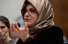 Hatice Cengiz, the fiancee of slain Saudi journalist Jamal Khashoggi, gestures as she testifies before a House Foreign Relations subcommittee hearing on the dangers of reporting on human rights, on Capitol Hill in Washington, May 16, 2019.
