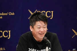 Japanese entrepreneur and Founder of Interstellar Technologies Inc. Takafumi Horie speaks during a press conference in Tokyo, May 15, 2019.