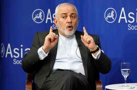 Iran's Foreign Minister Mohammad Javad Zarif speaks at the Asia Society in New York, Wednesday, April 24, 2019.