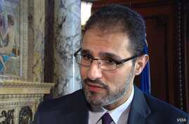 The Dutch embassy in Washington presents the Anne Frank Award to Syrian-born Mohammad Al Abdallah. Abdallah was recognized at this year's award ceremony which was centered on the theme of prosecuting war crimes.