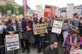 Thousands of anti-Trump protesters gathered in London's Trafalgar Square ahead of a march down Whitehall to within shouting distance of the U.S. president as he held talks with Theresa May, Britain's outgoing prime minister, in London, June 4, 20...
