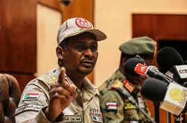 Gen. Mohamed Hamdan Dagalo, the deputy head of the military council speaks at a press conference in Khartoum, Sudan, Tuesday, April 30, 2019.