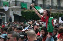 A protester chants slogans during a demonstration against Algeria's leadership, in Algiers, April 12, 2019.