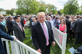 U.S. President Donald Trump attends the 2019 White House Easter Egg Roll on the South Lawn of the White House in Washington,  April 22, 2019.