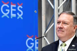 U.S. Secretary of State Mike Pompeo listens during the opening reception for the GES 2019, The Hague, Netherlands, June 3, 2019.