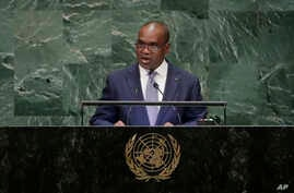 FILE - Burkina Faso Foreign Minister Alpha Barry addresses the U.N. General Assembly, Sept. 29, 2018, at U.N. headquarters.