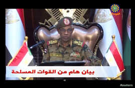 Sudan's Defense Minister Awad Mohamed Ahmed Ibn Auf makes an announcement in this still image taken from video on April 11, 2019.