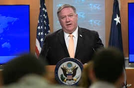 FILE - Secretary of State Mike Pompeo speaks during a news conference, April 22, 2019, at the Department of State in Washington.