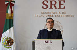 FILE - Mexican Foreign Minister Marcelo Ebrard speaks at the Foreign Ministry in Mexico City, Mexico, Dec. 18, 2018.