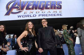 "Susan Downey, left, and Robert Downey Jr. arrive at the premiere of ""Avengers: Endgame"" at the Los Angeles Convention Center on April 22, 2019."