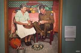 Rockwell's Thanksgiving: Mother and Son Peeling Potatoes was a cover illustration for the Post as World War Two was drawing to a close. (J.Taboh/VOA)