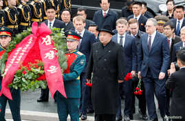 North Korean leader Kim Jong Un arrives for a wreath laying ceremony at a navy memorial inVladivostok, Russia, April 26, 2019.