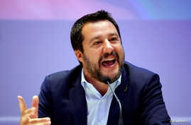 FILE - Matteo Salvini, Italy's Deputy Prime Minister and leader of the far-right League Party, speaks as he launches campaigning for the European elections, in Milan, Italy April 8, 2019.