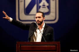 El Salvador's president-elect Nayib Bukele talks during the presentation of downtown San Salvador Revitalization Project at the National Theater in San Salvador, El Salvador, April 2, 2019.