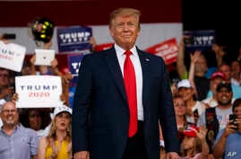 President Donald Trump arrives to speak at a rally at Aaron Bessant Amphitheater, May 8, 2019, in Panama City Beach, Fla.