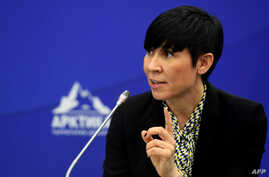 FILE - Norway's Foreign Minister Ine Marie Eriksen Soreide speaks at the International Arctic Forum in St. Petersburg, April 9, 2019.