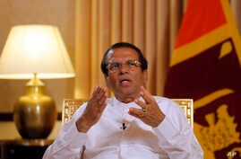 Sri Lankan President Maithripala Sirisena speaks during an interview with the Associated Press at his residence in Colombo, May 7, 2019.
