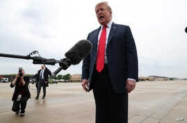 U.S. President Donald Trump speaks to reporters before boarding Air Force One for travel to Indianapolis, Indiana, at Joint Base Andrews, Maryland, outside Washington, D.C, April 26, 2019.