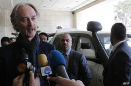 United Nations Special Envoy for Syria Geir Pedersen speaks to the press upon his arrival in the capital Damascus, March 17, 2019.
