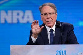 Nation Rifle Association Executive Vice President Wayne LaPierre speaks at the National Rifle Association Institute for Legislative Action Leadership Forum in Lucas Oil Stadium in Indianapolis, April 26, 2019.