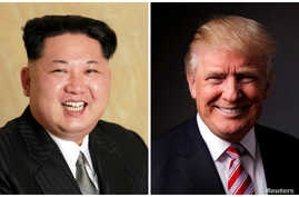 A combination photo shows a Korean Central News Agency handout photo of North Korean leader Kim Jong Un released May 10, 2016, and U.S. President Donald Trump in his office in Trump Tower, New York, May 17, 2016.