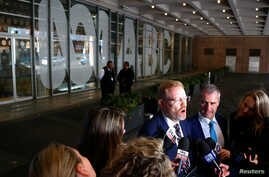 Editorial Director of the Australian Broadcasting Corp (ABC) Craig McMurtie speaks to members of the media outside the ABC building located in Sydney, Australia, June 5, 2019.
