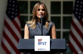 First lady Melania Trump speaks at the opening of a program for the first lady's Be Best initiative in the Rose Garden of the White House, May 7, 2019, in Washington.
