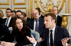French President Emmanuel Macron and New Zealand's Prime Minister Jacinda Ardern attend a meeting at the Elysee Palace, May 15, 2019 in Paris. Several world leaders and tech bosses are meeting to find ways to stop acts of violent extremism from being...