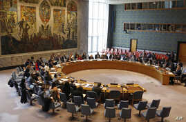 Members of the U.N. Security Council gather inside the United Nations Security Council chambers for a meeting on Syria, April 30, 2019.