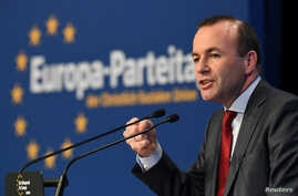 Manfred Weber, member of the CSU party and top candidate of the European People's Party (EPP) for the European elections speaks at a CSU party congress in Nuremberg, Germany, March 30, 2019.