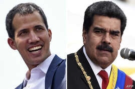 A combination of photos created on May 25, 2019 shows Venezuelan opposition leader Juan Guaido (L) during a gathering with supporters in Caracas on Feb. 2, 2019, and President Nicolas Maduro delivering a speech during the ceremony of recognition by t...