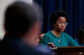 House Homeland Security Committee member Rep. Lauren Underwood, D-Ill., looks to acting Secretary of Homeland Security Kevin McAleenan as he testifies on Capitol Hill in Washington, May 22, 2019.