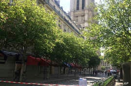 The streets around Notre Dame cathedral are cordoned off in Paris, France, April 18, 2019.