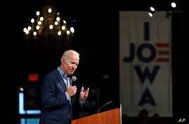 Former Vice President and Democratic presidential candidate Joe Biden speaks during a rally, May 1, 2019, in Des Moines, Iowa.