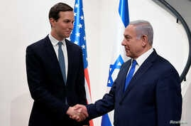 Israeli Prime Minister Benjamin Netanyahu shakes hands with Senior White House advisor Jared Kushner during their meeting in Jerusalem May 30, 2019.