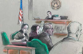 In this artist sketch, a Chinese woman, Yujing Zhang, left, listens to a hearing before federal Magistrate Judge William Matthewman in West Palm Beach, Fla., April 8, 2019.