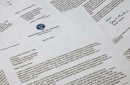 Letter from Treasury Secretary Steven Mnuchin to House Ways and Mean chairman Richard Neal of Mass., is photographed on April 23, 2019, in Washington. Mnuchin is asking for more time to respond to House Democrats' request for President Donald Trump's...
