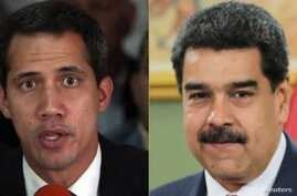 From left, Venezuelan opposition leader Juan Guaido and Venezeulan President Nicolas Maduro.