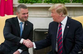 US SlovakiaPresident Donald Trump shakes hands with Slovak Prime Minister Peter Pellegrini during a meeting in the Oval Office of the White House, May 3, 2019, in Washington.