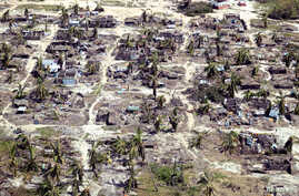 Buildings damaged during Cyclone Kenneth are seen from the air in a village north of Pemba, Mozambique, May 1, 2019.