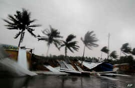 Street shops are seen collapsed because of gusty winds preceding the landfall of Cyclone Fani on the outskirts of Puri, in the Indian state of Odisha, May 3, 2019.
