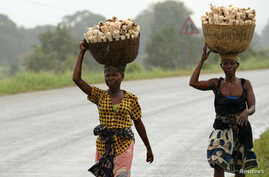 Women carry maize retrieved from fields flooded in the aftermath of Cyclone Kenneth, along the Mieze river near Pemba, Mozambique, April 30, 2019