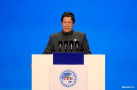 FILE - Pakistani Prime Minister Imran Khan speaks at the opening ceremony for the first China International Import Expo (CIIE) in Shanghai, China, Nov. 5, 2018.