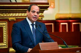 FILE- Egyptian President Abdel-Fattah el-Sissi addresses Parliament after being sworn in for a second four-year term, in Cairo, Egypt, in this June 2, 2018, photo provided by the media office of Egypt's presidency.