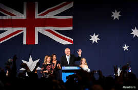Australia's Prime Minister Scott Morrison with wife Jenny, children Abbey and Lily after winning the 2019 Federal Election, at the Federal Liberal Reception at the Sofitel-Wentworth hotel in Sydney, Australia, May 18, 2019.