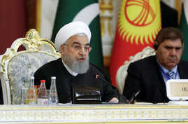 Iranian President Hassan Rouhani delivers a speech at the Conference on Interaction and Confidence-Building Measures in Asia (CICA) in Dushanbe, Tajikistan, June 15, 2019.
