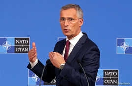 NATO Secretary-General Jens Stoltenberg speaks during a news conference after a NATO Defense Ministers meeting in Brussels, Belgium, June 26, 2019.
